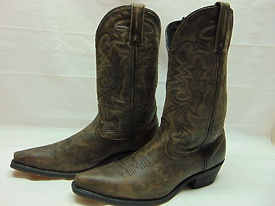 Rockin Country Collection Mens 11 Brown Distressed Leather Uppers Snip Toe Boots