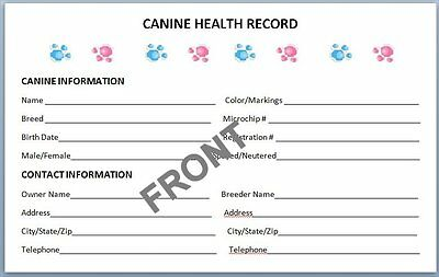 Canine Health Records Set of 10 + Litter Record - Breeder dog puppy vaccination