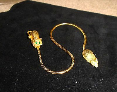 """RARE VTG 1950s 1"""" GOLD TONE CAT AND MOUSE BOOKMARK CHAIN AND RHINESTONE EYES"""