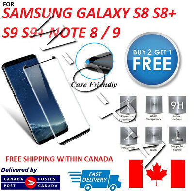 Case Friendly Samsung S8  S8+ Note 8 Full Cover Tempered Glass Screen Protector