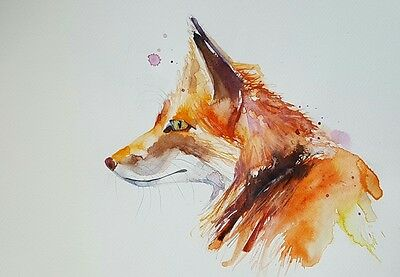 "Elle Smith Art.new Original & Rare Watercolour Painting. 16X12"" ""fox "" All New!"