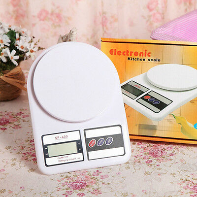 10kg Modern White Digital LCD Electronic Kitchen Cooking Food Weighing Scales