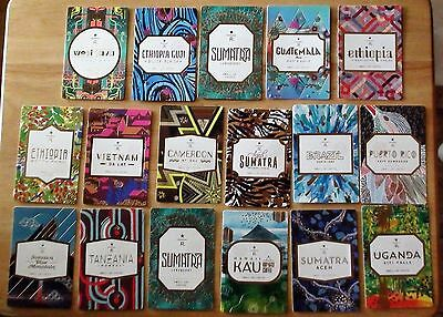 STARBUCKS RESERVE COFFEE TASTER CARD LOT of 17