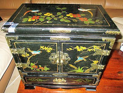 Antique Large Chinese Hongmu? Wood 17Lb Black Lacquer Jewelry Box Chest Brass!