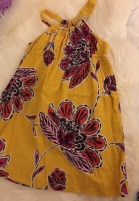 Girl's Gap Kids Summer Flower Dress Yellow/Mustard 100% Cotton Size S