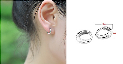 Unisex Woman Man 925 Sterling Silver Circle Hoop Tiny Ring Clip Earring