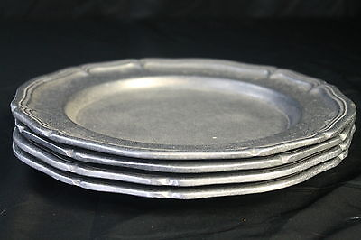 "Set of 4 Vintage Pewter Wilton Serving Tray Trays 11"" Made in USA"
