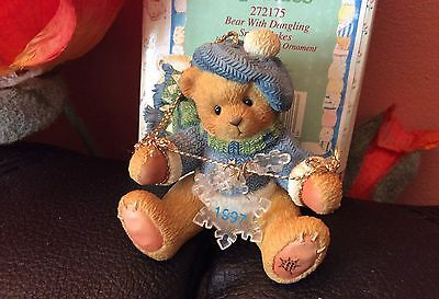 "Cherished Teddies Hanging Ornament ""Bear With Dangling Snow Flakes"" Neu und OVP"