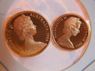 1984 AUSTRALIAN PROOF 2 and 1 CENT COINS.