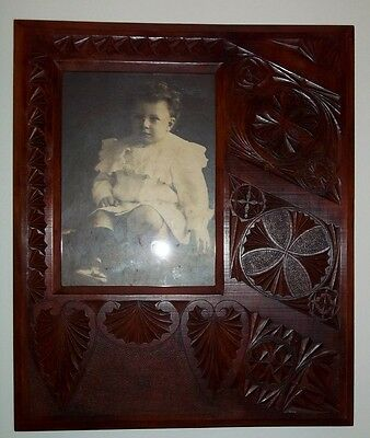 Large Antique Chip Carved Frame , circa early 1900's .
