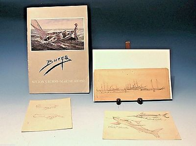 Maritime Milton James Burns (American,1853-1933) SIGNED GUARANTEED SHIP SKETCHES