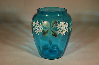 Lovely Victorian Turquoise Blue Panelled Vase With Enamel Floral Decoration