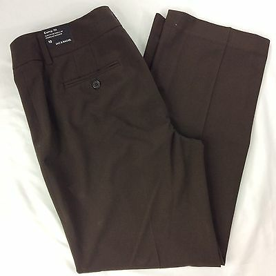 Women's Zac & Rachel Curvy Fit Brown Dress Pants Size 10 New With Tag