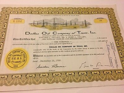 Dallas Oil Company Of Texas Certificate Of Stock Antique Paper Collectible Bond