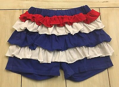 SOUTHERN TOTS Royal Blue White Red Knit Ruffled Shorts ~ Size 5 ~