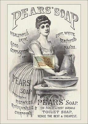REPRINT PICTURE of old PEARS' SOAP ad 1886 WOMAN WASHING AT BOWL AND PITCHER 5x7