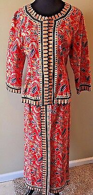 Ethnic Singapore Red Women Outfit Sarong Kebaya Top Skirt Set Outfit size M SK4
