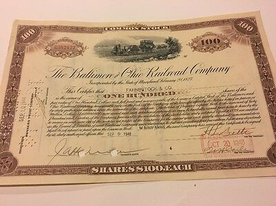 The Baltimore And Ohio Railroad Company Stock Certificate Paper Vintage