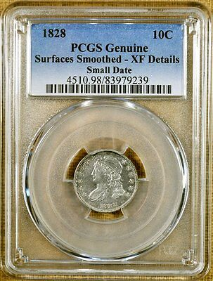 1828 Small Date PCGS XF Details Bust Dime