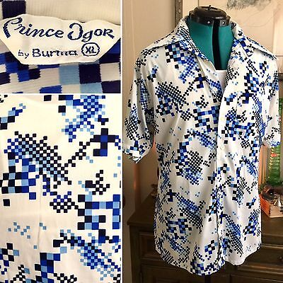 VTG 70s Prince Igor BURMA RETRO Digital Pixel OP ART Disco Shirt Men's Sz XL MOD