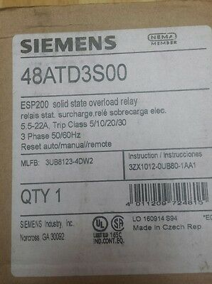 * New* Siemens Esp200 Overload Relay Cat No 48Atd3S00 5.5-22 A ,600Vac, 3 Phase