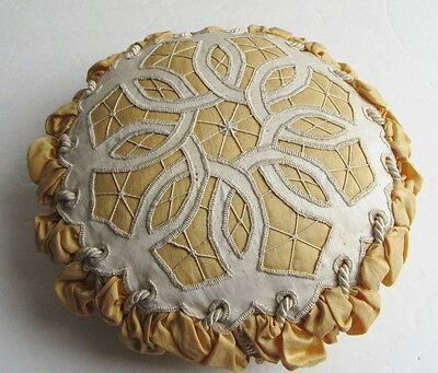 Large Antique Pin Cushion Cutwork & Lace Over Silk Heavy