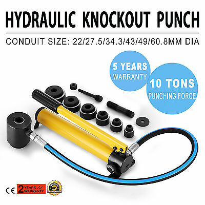 "6 Die 10 Ton Hydraulic Knockout Punch 1/2"" to 2"" Hand Tool Hole Cutter Portable"