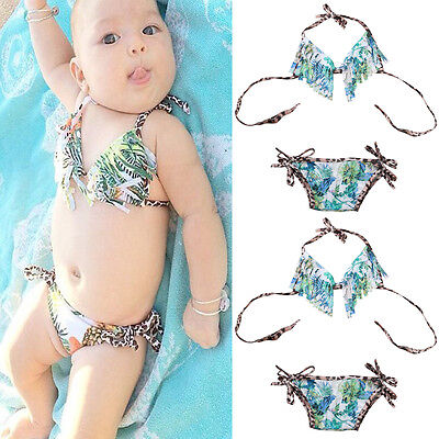 Newborn Infant Baby Girl Tassel Bikini Swimwear Swimsuit Summer Bathing Suit US