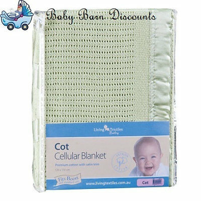 NEW The Living Textiles - Cellular Cot Blanket - Green from Baby Barn Discounts