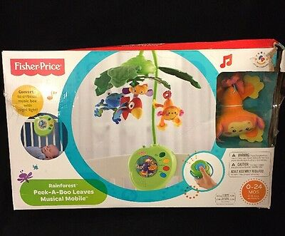 Fisher-Price Rainforest Peek-A-Boo Leaves Musical Mobile New