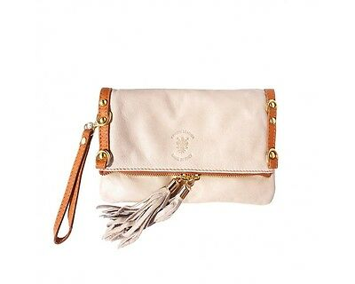 MINI SOFT GENUINE COW LEATHER FOLDED CLUTCH (Beige/ Tan)