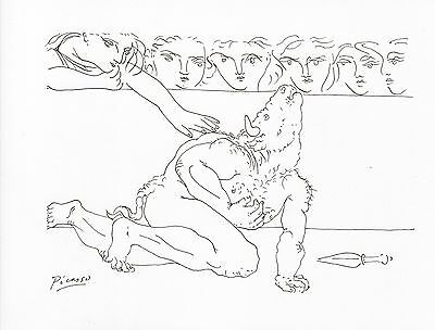 """Pablo Picasso Pen and Ink Drawing """"MINOTAUR in the ARENA"""""""