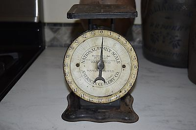 Antique 1912 NATIONAL FAMILY SCALE 24 LBS Vintage Metal American Cutlery Co PRIM