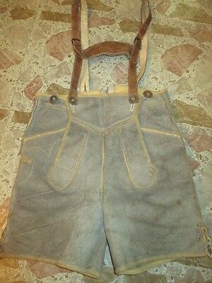 Vintage Beige Gray Suede Leather Trim  Lederhosen Leather Straps Youth Size