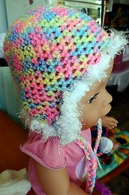 CLOTHES  FOR  'American Girl,'BABY BORN' dolls HAND CROCHET  EARFLAP HAT rainbow