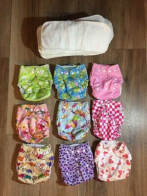 9 Pack Pocket Cloth Diapers With 18 Inserts, 2 Inserts Per Diaper, Girl Pack New