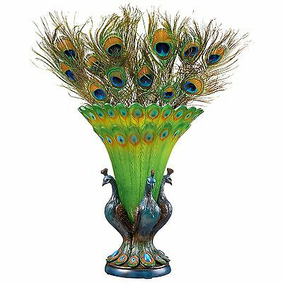 Colorful PEACOCK BIRD VASE SCULPTURE Art Centerpiece Gift Stained Glass Look