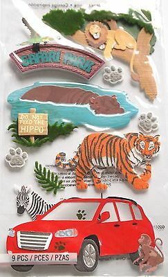 JOLEE'S BOUTIQUE DRIVE THRU SAFARI Animals Scrapbook Craft Sticker Embellishment