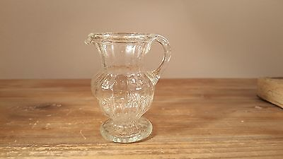 Very interesting little early 1800s hand made molded American? glass pitcher