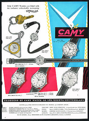1950's Old Vintage Camy Watch Co 1957 Watches Mid Century Modern Art Print AD