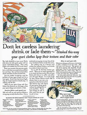 1920's BIG Vintage Lux Laundry Powder Flakes Beach Lady Parasol Art Print Ad