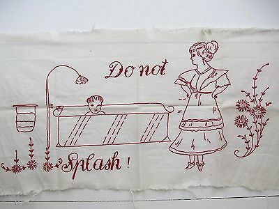 """Early Antique Vintage Embroidery Red Work """"Bath' - Feedsack Muslin"""