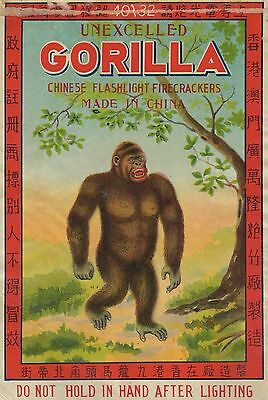 Unexcelled Gorilla Firecracker Brick Label