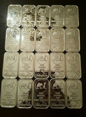 Lot of 20 Silvertowne Prospector with Donkey 1oz 999 silver bars