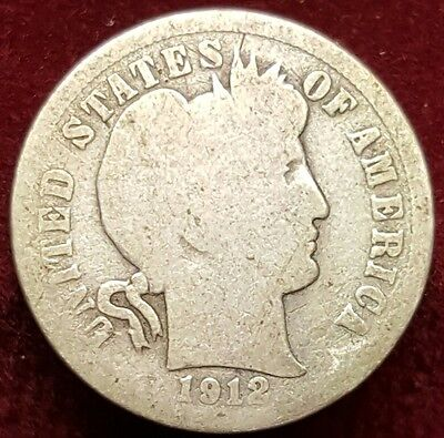 1912 Barber One Dime .900 Silver Coin Ten Cents