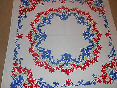VINTAGE Estate~MID Century COTTON TABLECLOTH~RED YELLOW BLUE FLORAL DESIGN~49x46