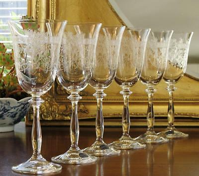 "Beautiful Bohemia Crystal ""Lady Charlotte"" Wine glasses, boxed set of 6."