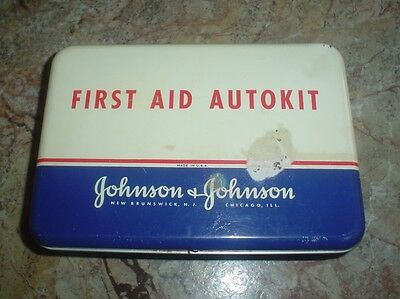 Vintage Johnson & Johnson First Aid AUTOKIT Tin Box with Partial Contents