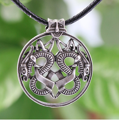 Ancient Viking Norse Big Double Dragon Amulet Talisman Pendant Vintage Necklace