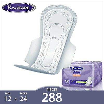 288 x RealCare Overnight Pads with Wings (24 packs of 12). Aussie Seller!
